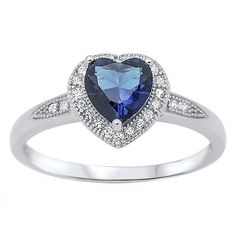 PRODUCT DESCRIPTION: Ida: The classic style and beauty of this created Blue Sapphire Solitaire with accenting Halo Clear Russian IOF CZs Promise Ring is an absolutely stunning combination. The Ida is