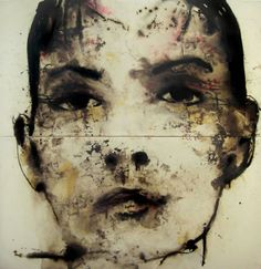 """Corinna""/ by Domenico Grenci (Italy)/ Painting, Mixed technique, Canvas, 200 x 200 cm, 2007 Abstract Faces, Abstract Portrait, Portrait Art, Figure Painting, Painting & Drawing, Art Aquarelle, Italy Painting, Mexico Art, Life Drawing"