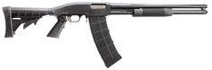 Mossberg 500 shotgun converted to take Saiga 12 magazines.
