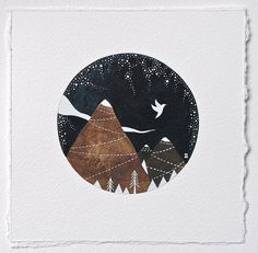 a winters tale // a bird a day // contemporary watercolor landscape painting with mountains // by natasha newton. £32.00, via Etsy.