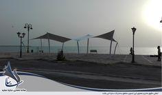 سایبان پارچه ای کششی با فرم شید و سازه کششی به عنوان المان دکوراسیون شهری برای ساحل بوشهر و خلیج فارس
