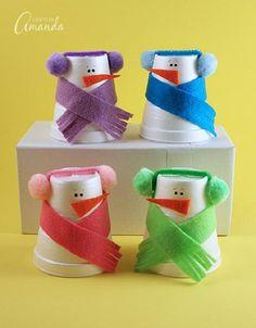 Foam Cup Snowmen Craft