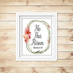 He Has Risen printable  Easter wall art  red by LanasPrintables