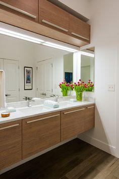 Floating vanity, cabinet storage on top, square sink Stephen Clark Residence - Washington, DC contemporary bathroom