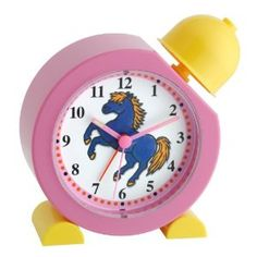"""Zoomie Kids This clock will get your """"Getty-up"""" and get you going in the morning. Neighing horse sounds like an alarm with easy set time and alarm dial. Features illuminated pointing hour and minute hands and made of shock-resistant plastic. Hue, Light Alarm Clock, Desktop Clock, Tabletop Clocks, Buy Toys, La Crosse, Homewares Online, Wood Colors, Gifts For Girls"""
