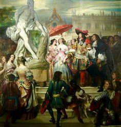 Le presentan a Luis XIV una nueva escultura en los jardines de Versalles