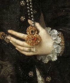 Antonio Moro (1520-1578), Portrait of a lady, detail