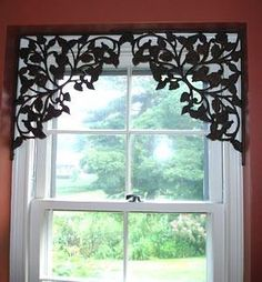 cute! Shelving brackets for window treatments! J'adore!  Would look great with blind or roman shade