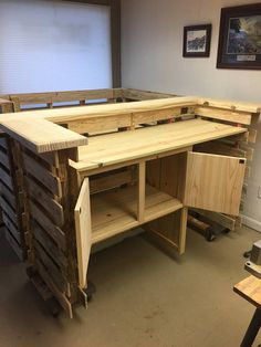 Absolutely Beautiful 72 X 30 X 42 Tiki Bar/Pallet Bar. Includes Electrical Outlets And Interior LED Lights, Locking Liquor Storage Cabinet, Under Counter Refrigerator Space. All On A GFCI Circuit. This Bar Is Absolutely Beautiful. ( Bar Just Plugs Into Any Standard Outlet ). Built In