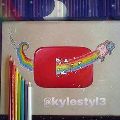 YouTube and Nyan Cat Social Media Mash Up Drawing