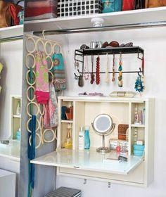 Fold-away IKEA desk turned amazing closet vanity