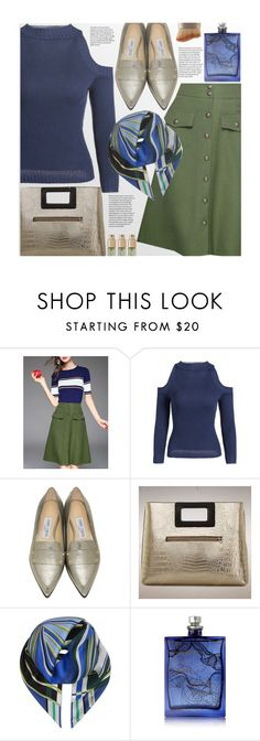 """""""Untitled #2310"""" by beebeely-look ❤ liked on Polyvore featuring Jimmy Choo, Emilio Pucci, The Beautiful Mind Series, Verso, gold, Sweater, streetwear, StreetChic and twinkledeals"""