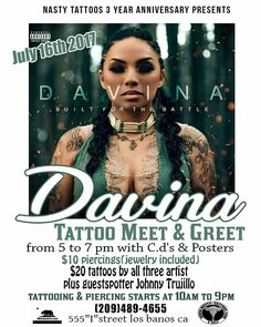 @Regrann from @therealdavinajoy510 -  July 16th.  Read the flyer for details. #YupISaidRead #AutographSigning #MeetNGreet #LosBaños #NastyTattoos #SpreadWord Come out to see me & swoop that new CD. #MMV #BIGLIFE - #regrann