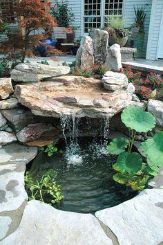 Japanese Garden Landscape, Small Japanese Garden, Japanese Garden Design, Japanese Gardens, Japanese Water Feature, Small Backyard Ponds, Backyard Water Feature, Small Garden Waterfalls, Small Water Gardens