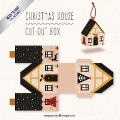 Cute Christmas House Box I Free Vector