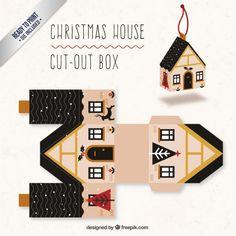Cute Christmas House Box I Free Vector
