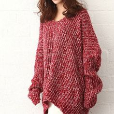 Price:$26.99 Color: Gray/Red Material: Wool Leisure Oversize Batwing Sleeve Pure Color Knit Sweater