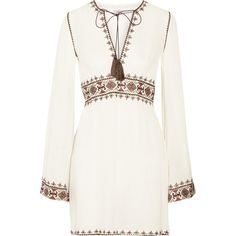 Talitha Columba embroidered gauze mini dress ($705) ❤ liked on Polyvore featuring dresses, vestidos, short dresses, robes, white, boho dress, bell sleeve mini dress, white mini dress, white gauze dress i bell sleeve dress