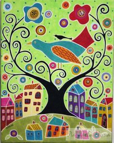 Folk art abstract tree bird houses painting by Karla Gerard Karla Gerard, House Illustration, Naive Art, Whimsical Art, Art Plastique, Tree Art, Bird Art, Oeuvre D'art, Art Lessons