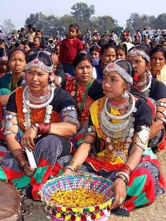 Different traditional dresses of the Tharu women - Nepal.
