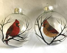 Cardinal Ornament Set of Two Male Female Red Bird Winter Holiday Christmas Grief Unique Sentimental Personalized Gift Hand Painted Glass Art