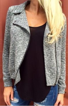 Chic Gray Turn-Down Collar Zippered Sheathy Coat For Women Jackets   RoseGal.com Mobile