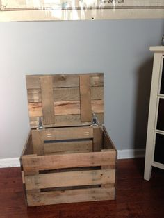 Do you have several items that need a home? Store them in this eye catching trunk! Made entirely of character filled (otherwise unused) pallet boards. Every board has a story. Dimensions are 23 wide x 16.5 deep x 14.75 tall. If you need more items made, or have any other questions, feel free