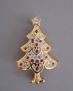 Swarovski Christmas tree brooch tiny cabs
