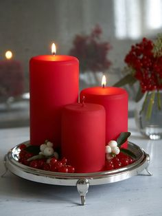 Velvet Red Pillar Candles