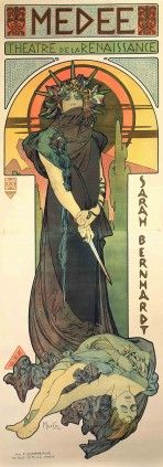 """A full-length Bernhardt stands wide-eyed and tense against a stylised sunset background, with a bloody dagger in her hands and a female body at her feet. The words """"Medée, Théâtre de la Renaissance"""" feature at the top of the poster in a mosaic-syle frieze and the words """"Sarah Bernhardt"""" run down the right hand side of the poster."""