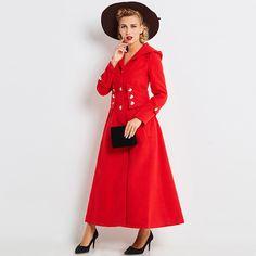 Sisjuly mujeres abrigos de invierno de manga larga de un solo pecho delgado fajas rojas botones mediados de longitud escudo nuevo 2017 chaqueta de invierno abrigos