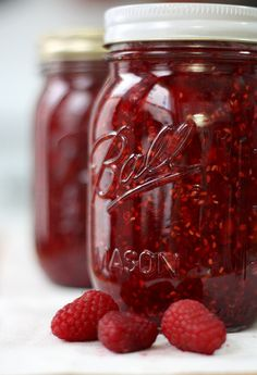 Quick and Easy Raspberry Freezer Jam. (hint, if you don't like seeds in your jam, like me, just strain them out with cheese cloth before you put it in jars)