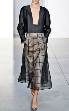 Windowpane Layered Midi Skirt With Pockets by Barbara Casasola for Preorder on Moda Operandi