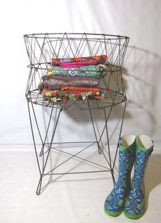 Vintage industrial wire laundry basket - factory loft decor