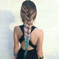 Top 20 braided hairstyles for summer 2017 - Rainbow braids long hair multi color