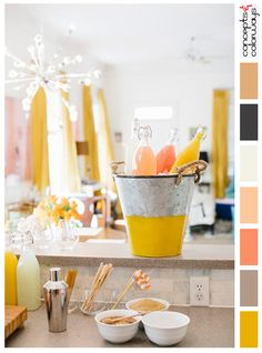 citrus toned party with color palette, bright golden yellow, mauve, taupe, hot pink, coral, off-white, black, gray