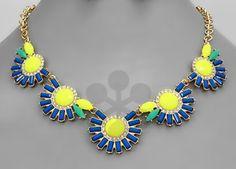 blue/neon statement necklace