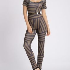 Abstract Stripe U Neck Jumpsuit  $41.99    Material: Polyester  Fit Type: Skinny  Pattern Type: Striped  Style: Fashion  Season: Fall,Spring,Winter  Elasticity: Elastic  With Belt: Yes  Weight: 0.370kg  Package Contents: 1 x Jumpsuit 1 x Belt