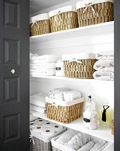 - Baskets and Boxes - ORGANIZED LINEN CLOSET: THE REVEAL Organized linen closet reveal! A fresh coat of paint, pretty baskets and major purging, it went from messy and cramped to spacious and airy! Linen Closet Organization, Bathroom Organisation, Closet Storage, Organization Ideas, Organize Bathroom Closet, Bathroom Linen Closet, Hallway Closet, Linen Closets, Cleaning Closet