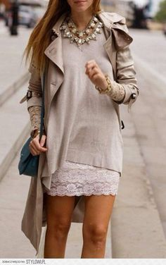 Lace skirt outfit #ootd #StreetStyle #fall2014