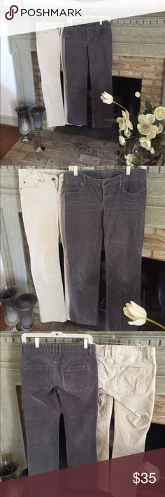 Two Corduroy Pants Two corduroy pants, one cream and one gray. Good condition. Will sell separately if desired. J. Crew Pants