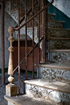 Stairway in abandoned Trans-Allegheny Lunatic Asylum.  Photo by rustyjaw on Flickr.