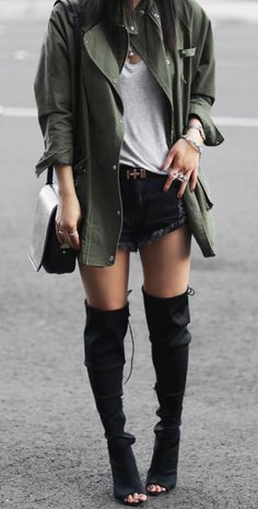 cute outfit idea: jacket + top + shorts + bag + over the knee boots