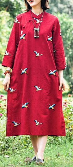 Women Red Embroidery Tunics Stand Collar Long Spring Dresses Long Spring Dresses, Fall Skirts, Fall Dresses, Linen Dresses, Cotton Dresses, Cotton On Outfits, Autumn Clothes, Spring Design, Oversized Dress