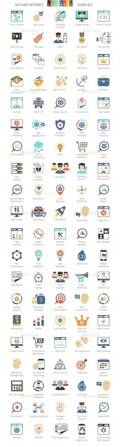 100 SEO And Internet Colorful Icons #design Download: http://graphicriver.net/item/seo-and-internet-colorful-icons/14536576?ref=ksioks
