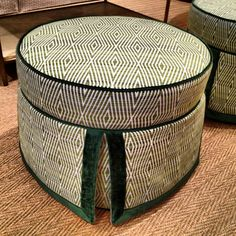 This go-anywhere ottoman from Pearson is so charming with velvet trimmed tailoring and a fresh new geometric woven  200 North Hamilton Street #hpmkt