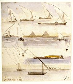 'Down current all. Jany. 1. 1867. 10.A.M. (7)', by Edward Lear - The page is covered with studies of various Egyptian craft, including dahabeeyahs and gyassis. In the middle of the sheet, a scene from the river with the Pyramids at Giza in the background.