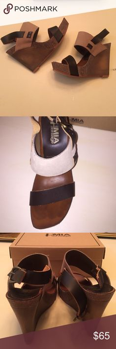 MIA heritage wooden wedges Brand new! With box! make an offer or bundle for a discount!! Weekends are buy 2 get 3rd of lesser value free!  MIA Shoes Wedges