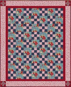 Comfort and Charm Irish Chain Quilt pattern by Sandie McCann for RJR fabrics. This free quilt pattern is great for a queen-sized bed and comes in two colors!