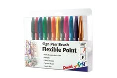 Amazon.com : Pentel Arts Sign Pen Brush Tip, 12 Assorted Colors in Marker Stand (SES15CPC12) : Office Products